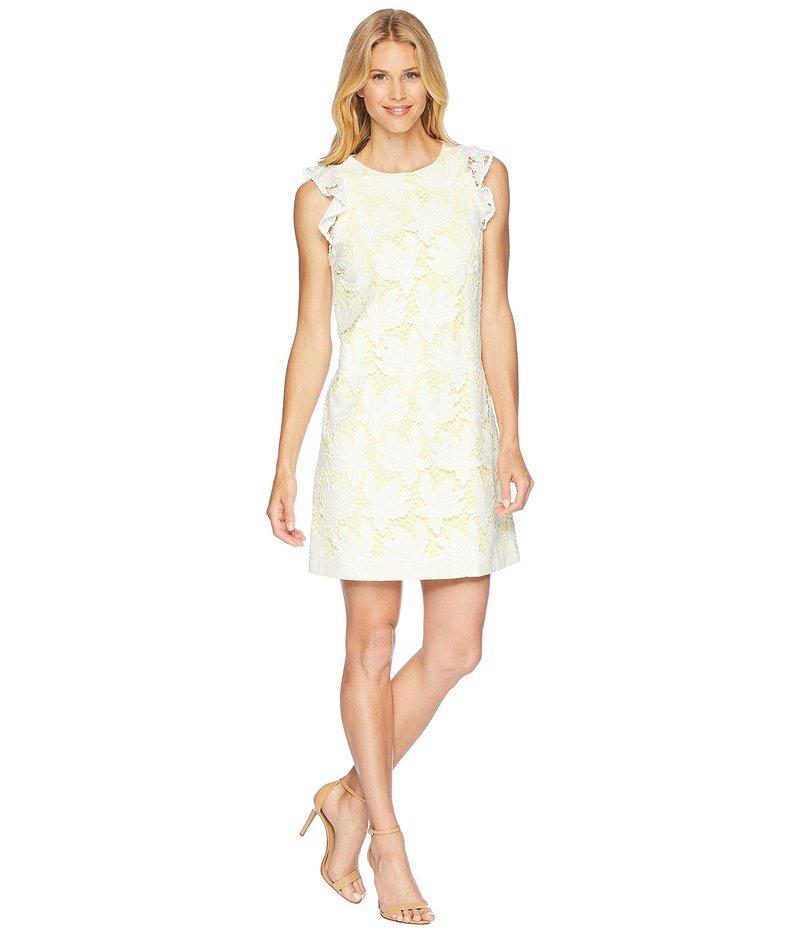 タハリ レディース ワンピース トップス Ruffle Sleeve Novelty Sheath Dress White/Lemon