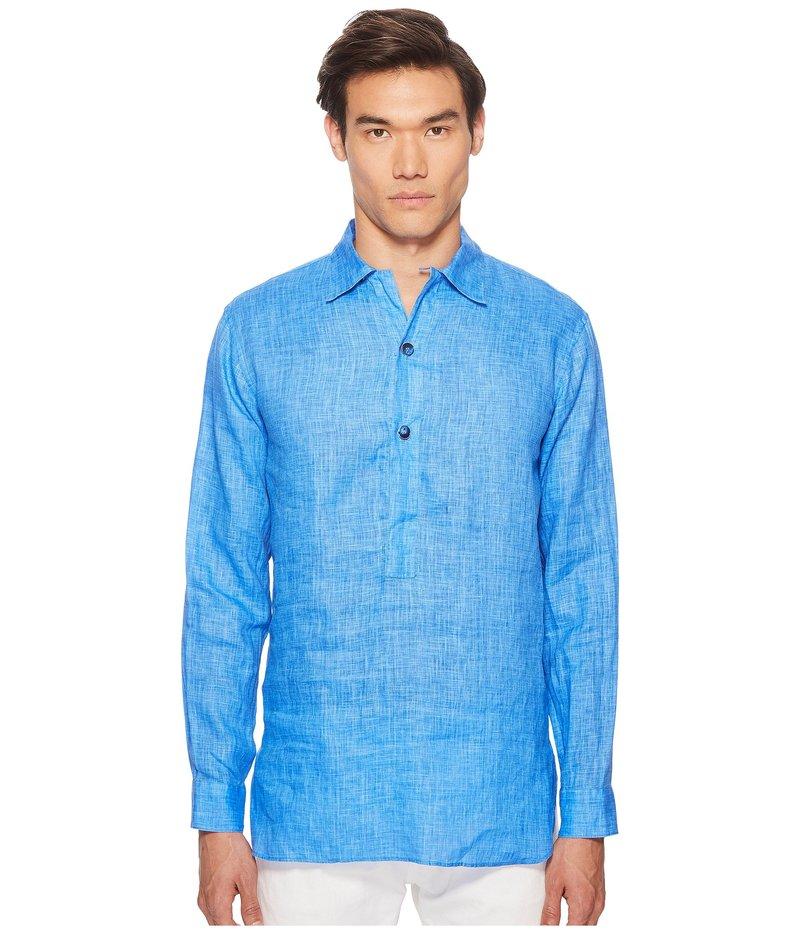 エトロ メンズ シャツ トップス Linen Popover Shirt Blue
