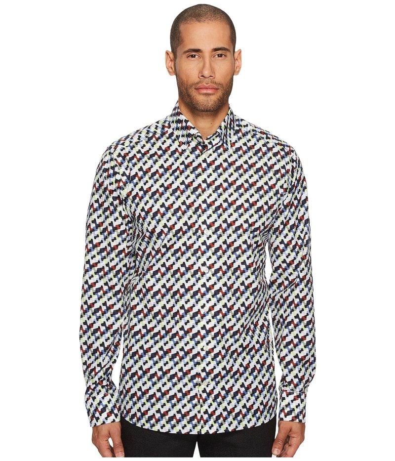 エトン メンズ シャツ トップス Slim Fit Geo Army Print Shirt Multi