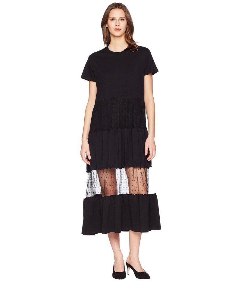 レッドヴァレンティノ レディース ワンピース トップス Cotton Jersey and Point D'Esprit T-Shirt Dress Nero