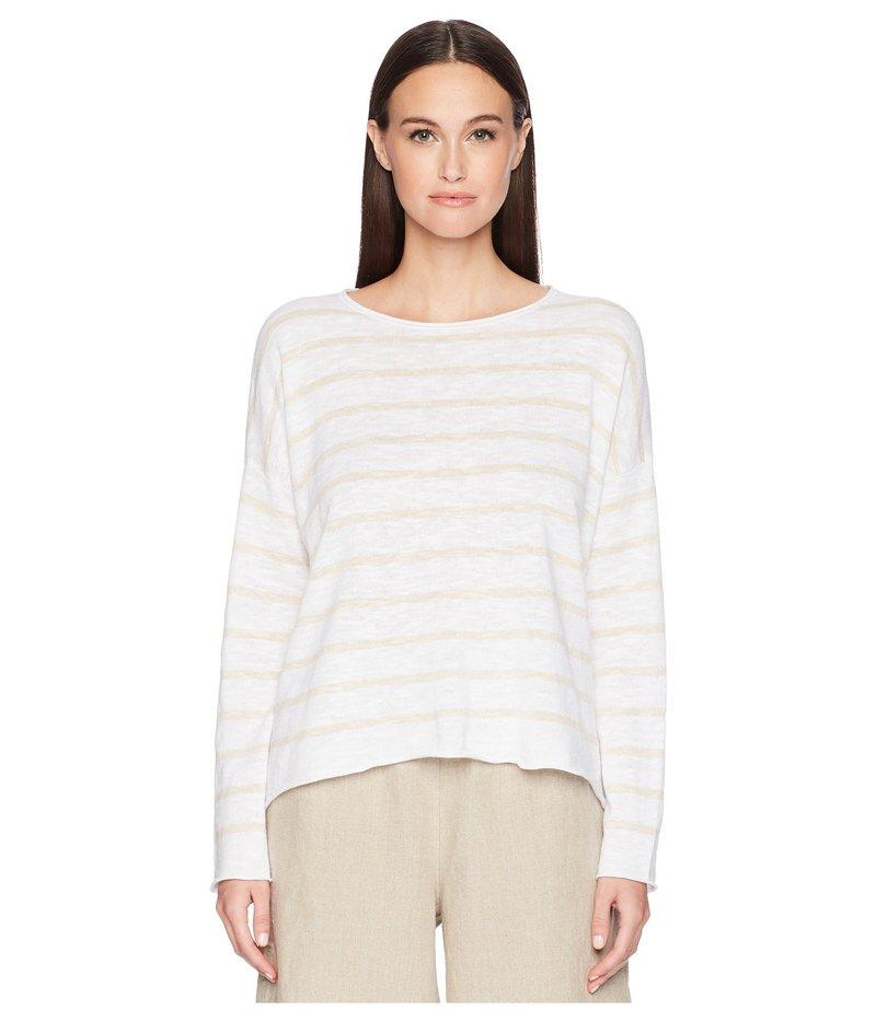 エイリーンフィッシャー レディース ニット・セーター アウター Stripe Organic Linen and Cotton Sweater White/Natural