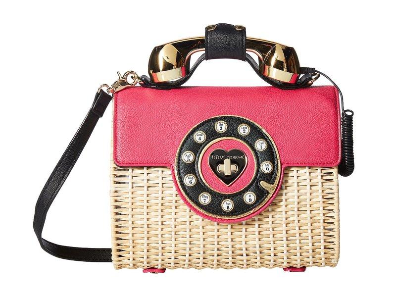 ベッツィジョンソン レディース ハンドバッグ バッグ Wicker Phone Bag Magenta