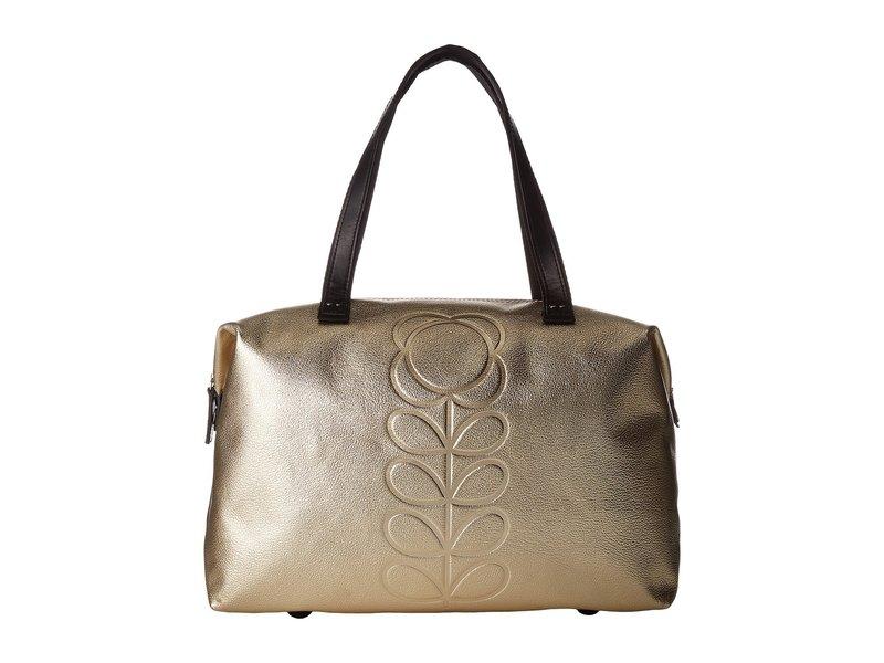 オーラキエリー レディース ハンドバッグ バッグ Embossed Flower Stem Leather Zip Shopper Light Gold