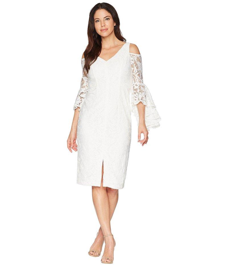 マギーロンドン レディース ワンピース トップス Breezy Leaf Lace Cold Shoulder Sheath Dress with Ruffle Sleeve White