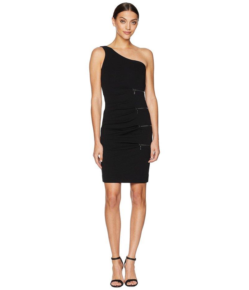 ニコルミラー レディース ワンピース トップス One Shoulder Dress with Zip Black