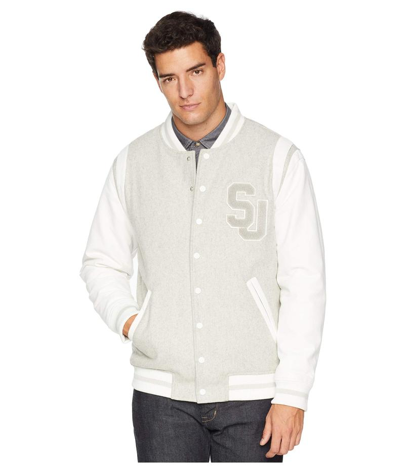 ショーンジョン メンズ コート アウター Mixed Media Varsity Jacket White