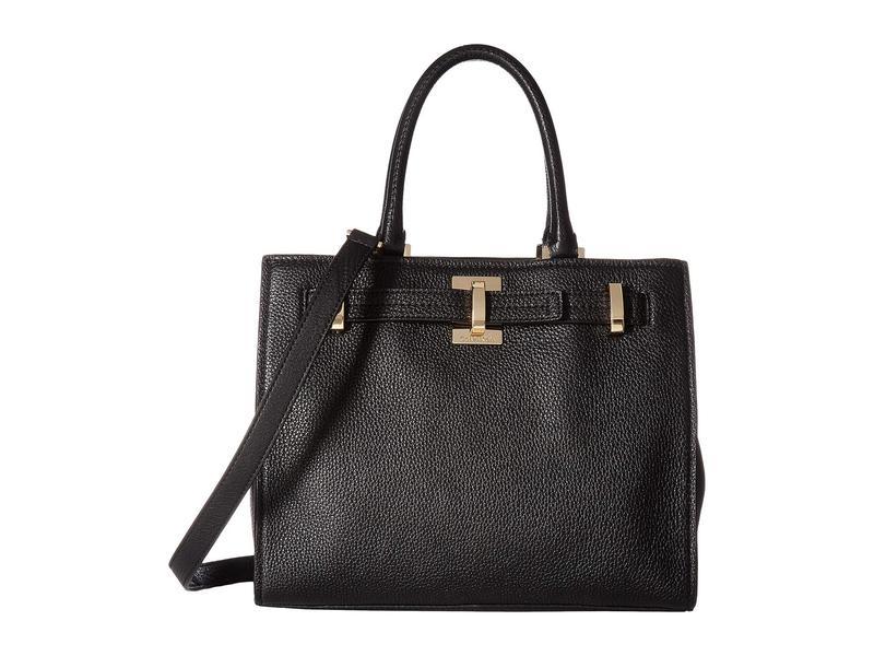 カルバンクライン レディース ハンドバッグ バッグ Faye Pebble Leather Satchel Black/Gold