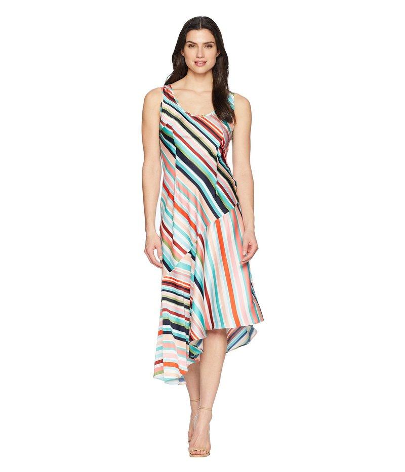 ドナモーガン レディース ワンピース トップス Striped Charmuese Slip Dress with Asymmetrical Hemline Fresh Green/Pink Multi