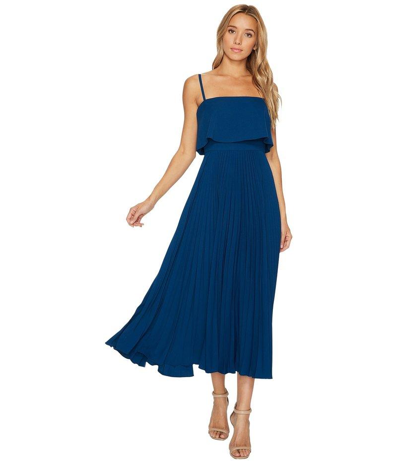 ジルスチュアート レディース ワンピース トップス Pleated Popover Midi Dress Dark Blue