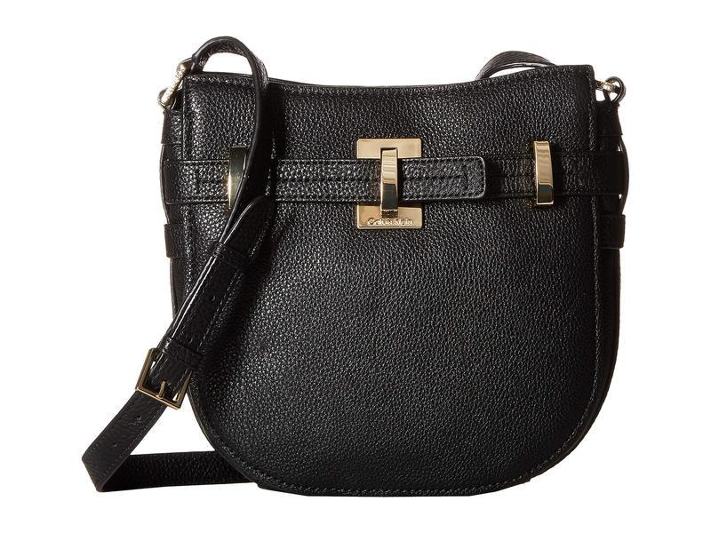 カルバンクライン レディース ハンドバッグ バッグ Faye Pebble Leather Messenger Black/Gold