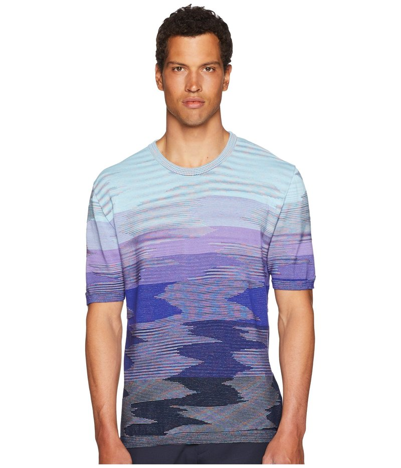 ミッソーニ メンズ ニット・セーター アウター Fiammato Short Sleeve Sweater Blue