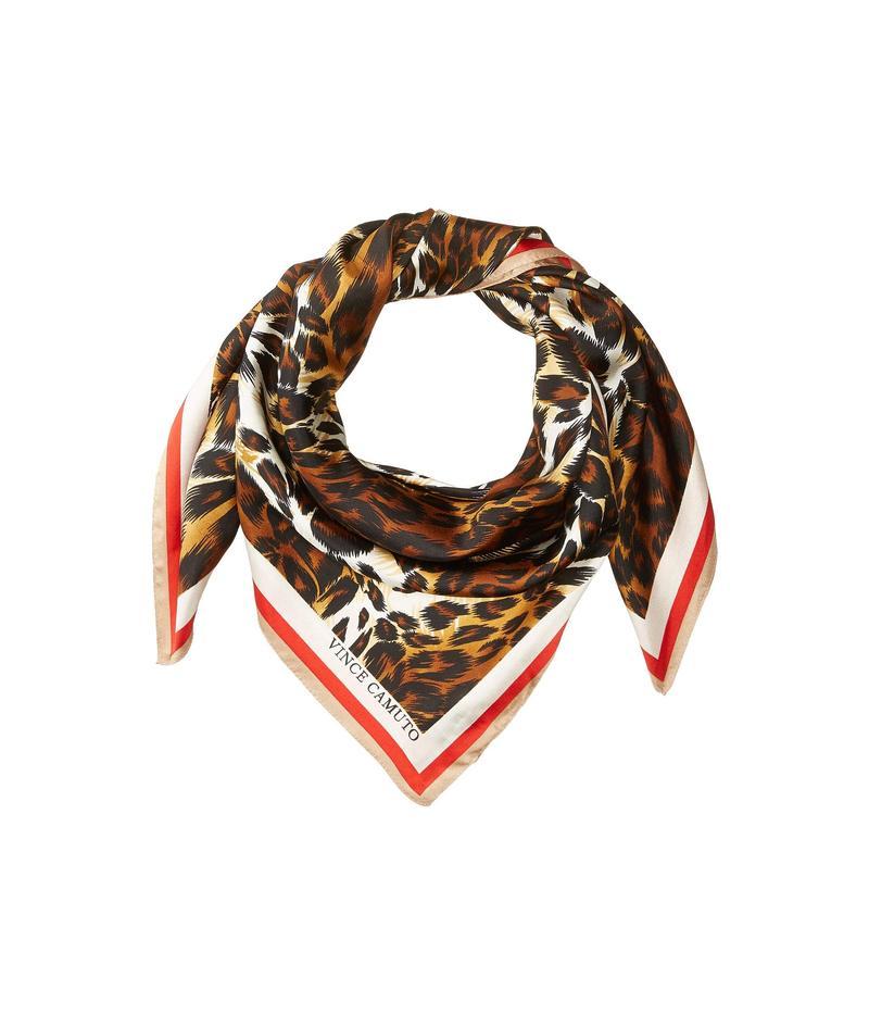 ヴィンスカムート レディース マフラー・ストール・スカーフ アクセサリー Leopard Geo Square Red