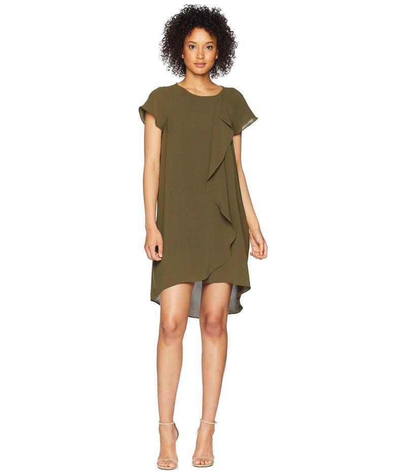 アドリアナ パペル レディース ワンピース トップス Gauzy Crepe Corkscrew Drape Shift Dress with Short Sleeves Olive