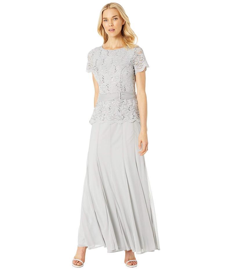 マリナ レディース ワンピース トップス Short Sleeve Mock Two-Piece Gown w/ Lace Bodice, Solid Skirt Silver