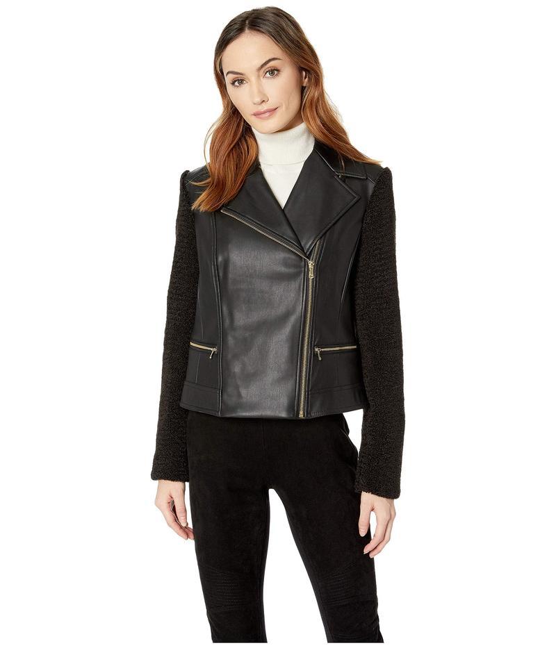 コールハーン レディース コート アウター Faux Leather Biker Jacket with Faux Sherpa Sleeves Black