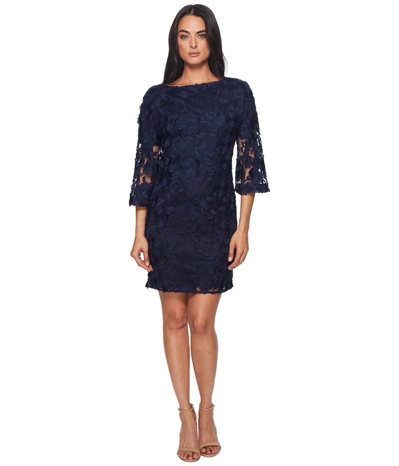 バッジェリーミシュカ レディース ワンピース トップス Lace Bell Sleeve Dress Navy