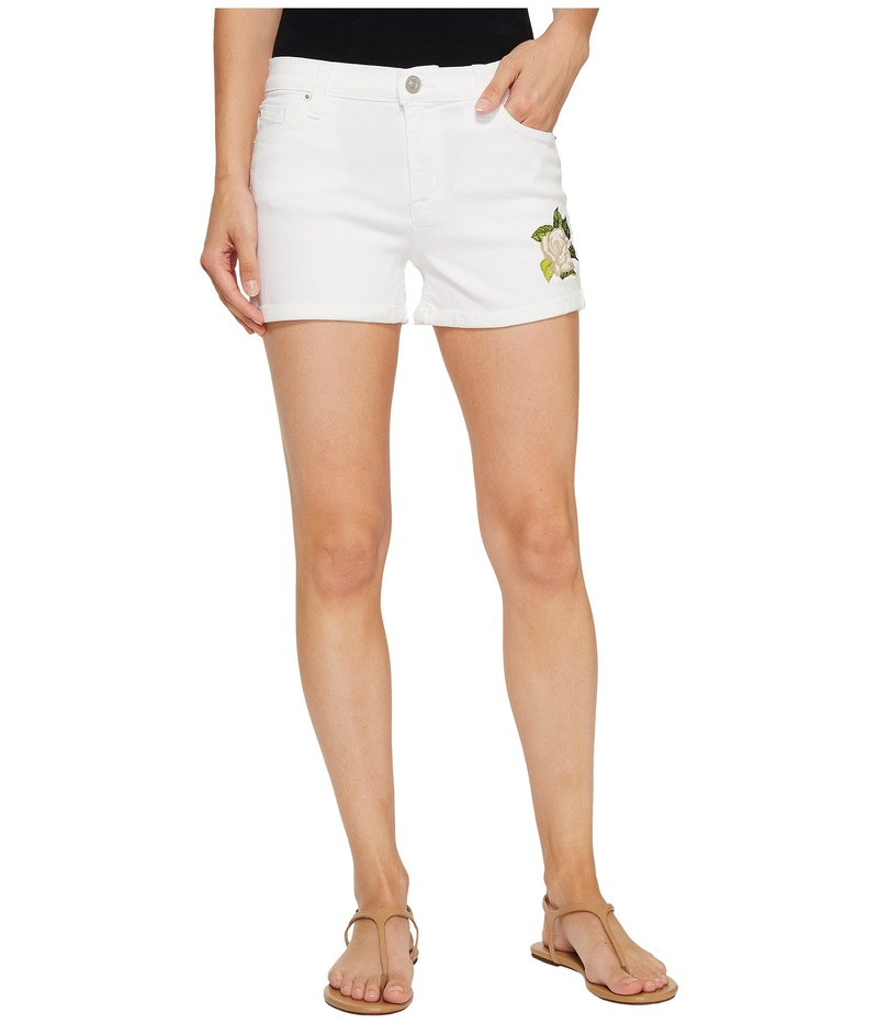 ハドソン レディース ハーフパンツ・ショーツ ボトムス Asha Mid-Rise Cuffed Shorts in Embroidery Floral White Embroidery Floral White