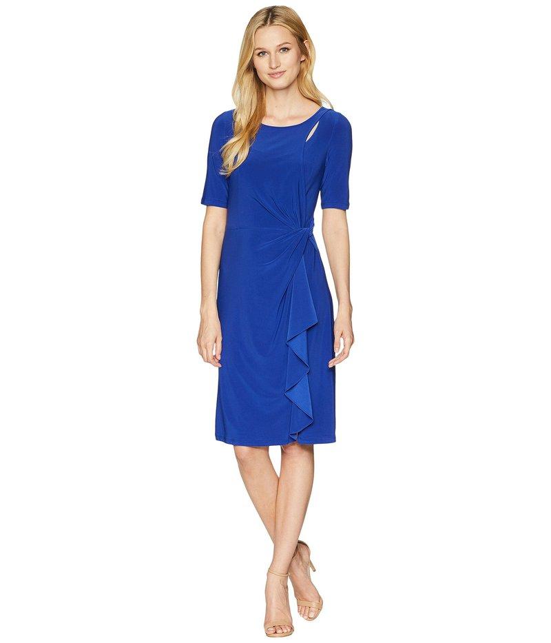 アドリアナ パペル レディース ワンピース トップス Matte Jersey Draped Sheath Dress Cyprus Blue