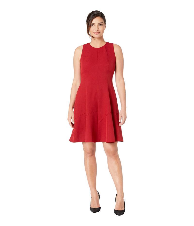 アンクライン レディース ワンピース トップス Crepe Seamed Fit & Flare Dress Titian Red/Dark Titian Red