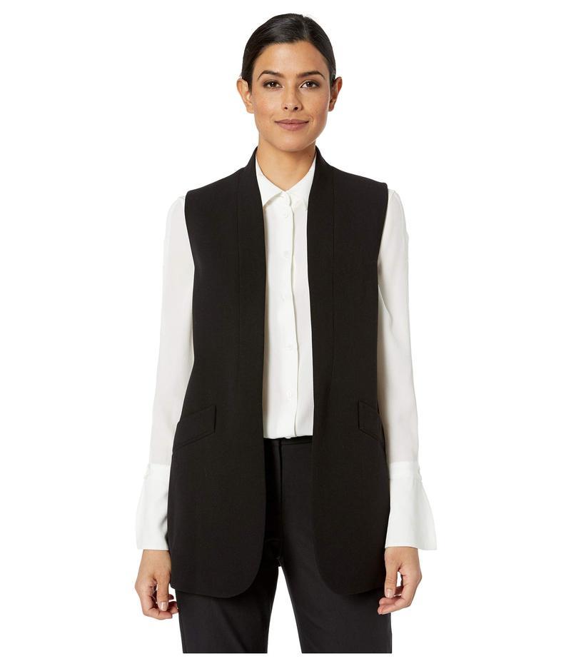 アンクライン レディース コート アウター Open Collarless Long Jacket Anne Black