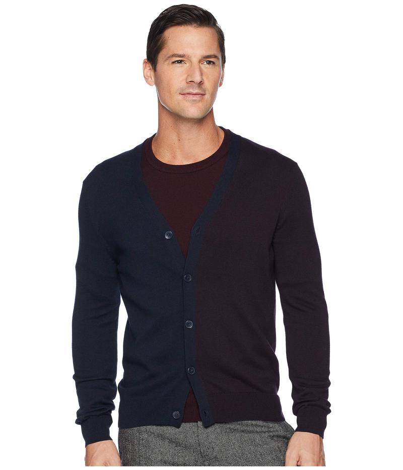 ペリーエリス メンズ ニット・セーター アウター Cotton Modal Two-Tone Color Block Cardigan Dark Sapphire