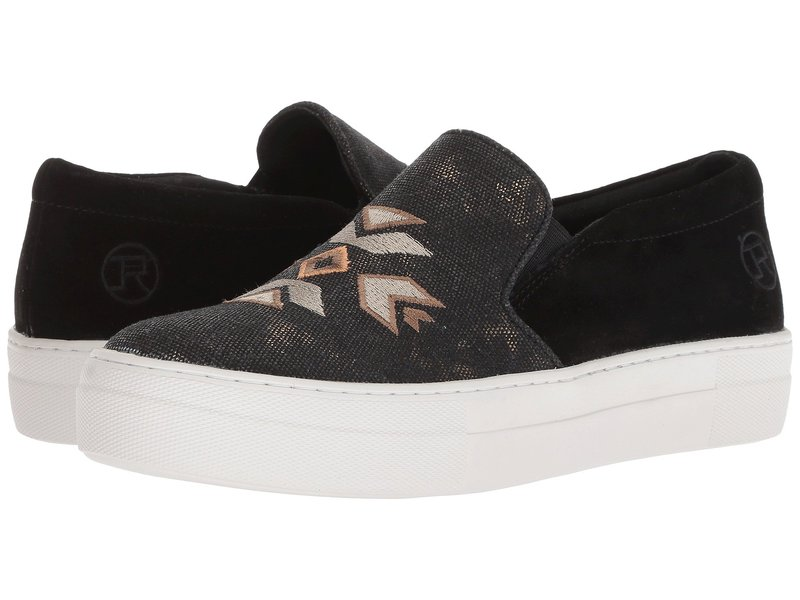 ローパー レディース スニーカー シューズ Darcy Black Suede Heel/Canvas Embroidered Upper