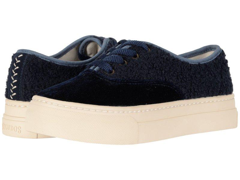 ソルドス レディース スニーカー シューズ Porto Platform Velvet Sneaker Midnight Blue