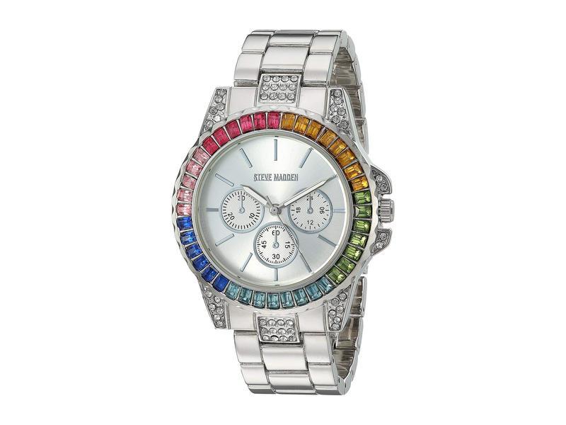 スティーブ マデン レディース 腕時計 アクセサリー Rainbow Case Ladies Alloy Band Watch SMW176 Silver