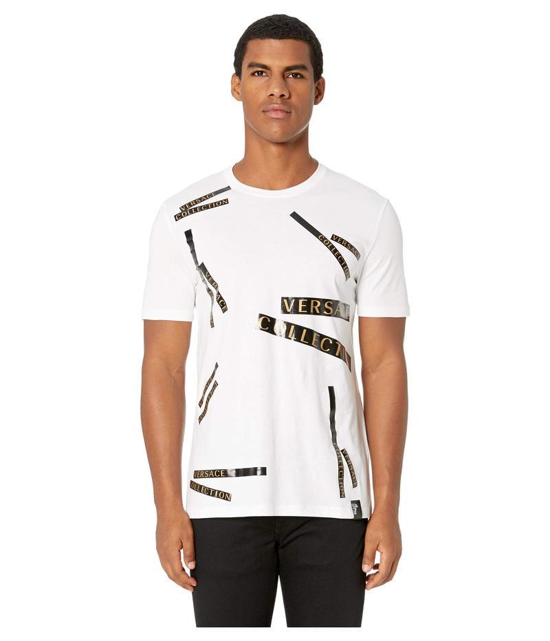ヴェルサーチ メンズ シャツ トップス Staggered Logo T-Shirt White