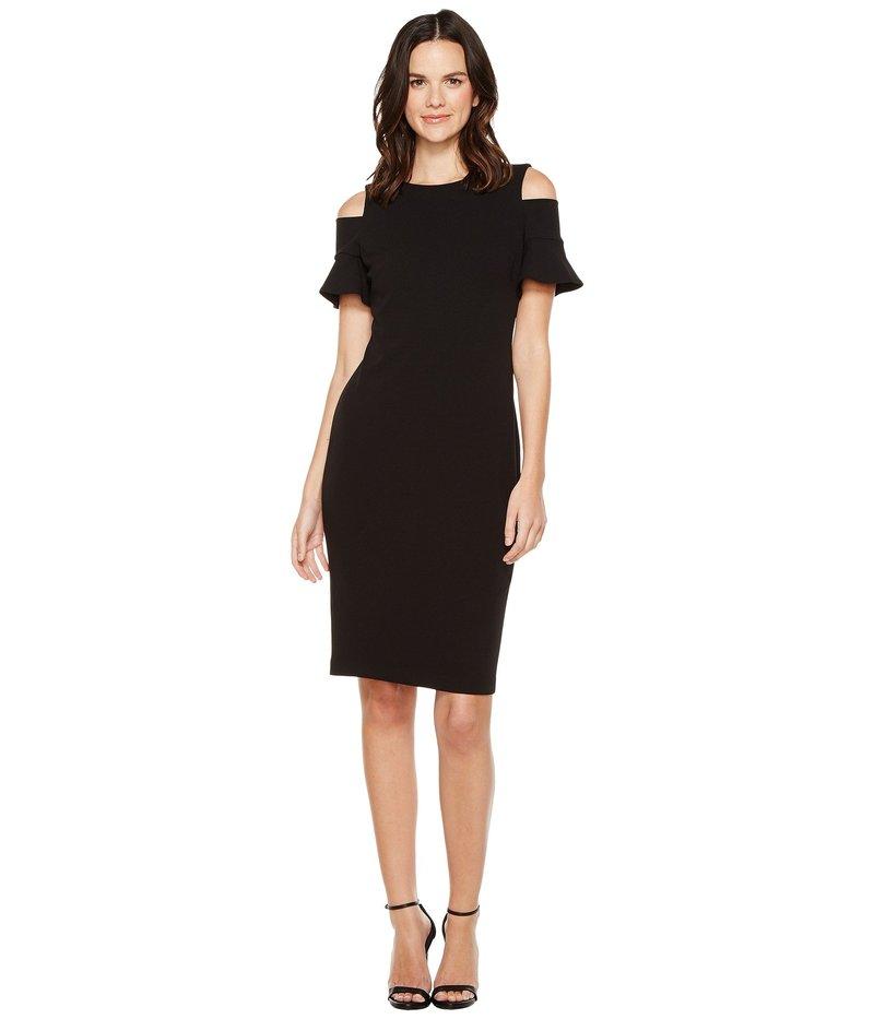 S-Twelve Women/'s WrapOver Cold Shoulder Split Sleeve Navy Dresses
