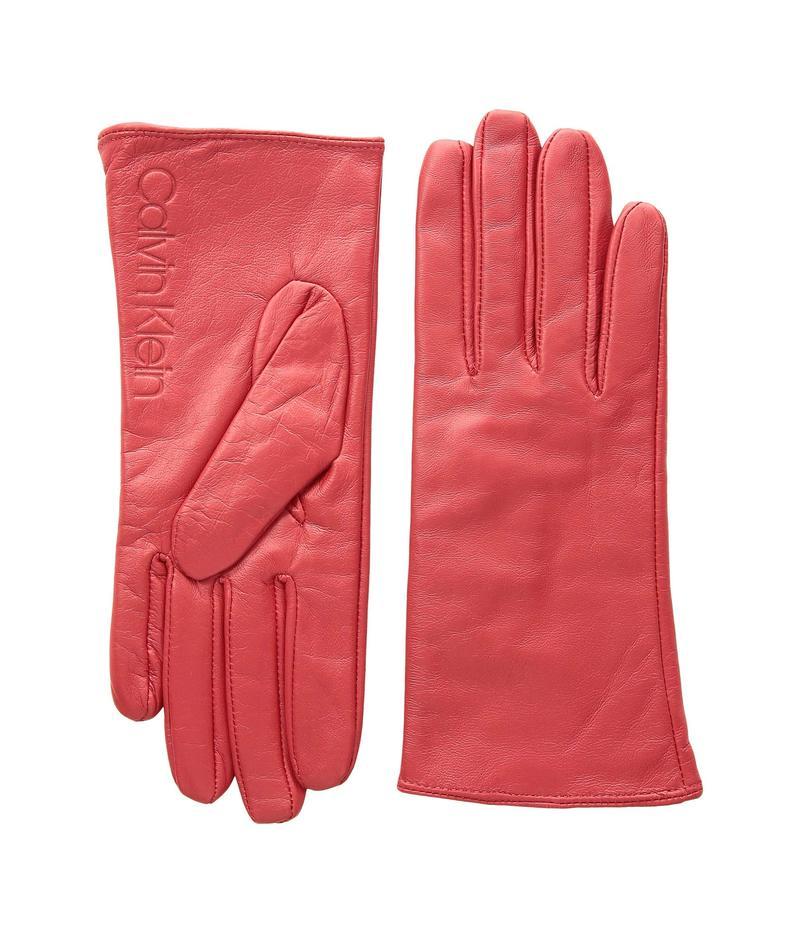 カルバンクライン レディース 手袋 アクセサリー Leather/Suede Gloves w/ Debossed Logo Rose Quartz
