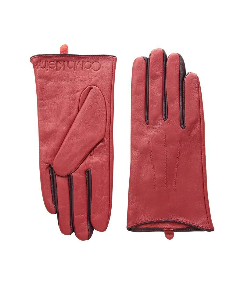 カルバンクライン レディース 手袋 アクセサリー Leather Gloves w/ Color Pop & Debossed Logo Red