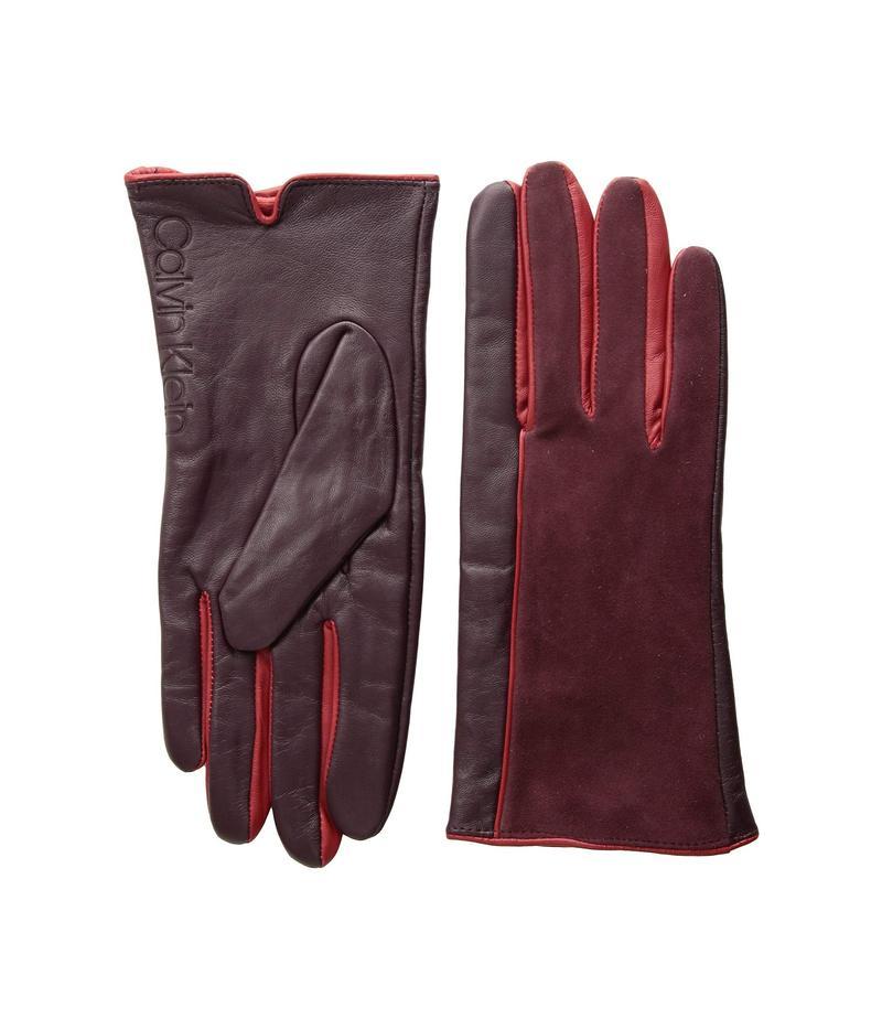カルバンクライン レディース 手袋 アクセサリー Leather/Suede Gloves w/ Pop Color Fourchettes Dark Cranberry