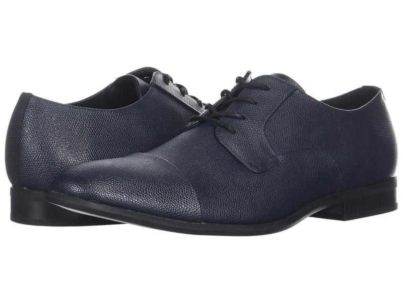 カルバンクライン メンズ オックスフォード シューズ Langston Dark Navy Small Tumbled Leather