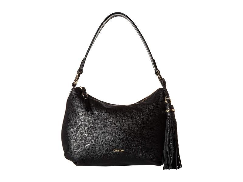 カルバンクライン レディース ハンドバッグ バッグ Holly Pebble Leather Hobo Black/Gold