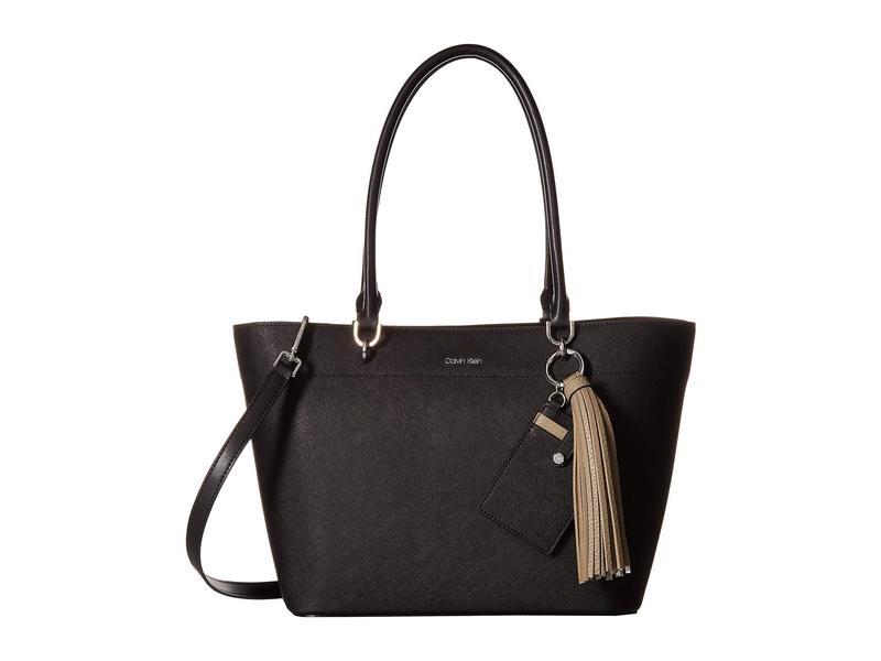 カルバンクライン レディース ハンドバッグ バッグ Susan Small Saffiano Leather Tote Black/Silver