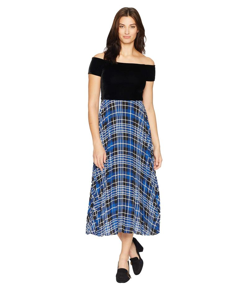ドナモーガン レディース ワンピース トップス Off the Shoulder Midi Dress w/ Pleated Skirt Black/Blue Flame Multi