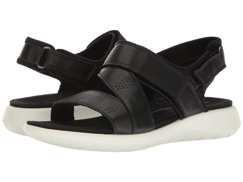 エコー レディース ヒール シューズ Soft 5 Cross-Strap Sandal Black/Black Cow Leather/Textile