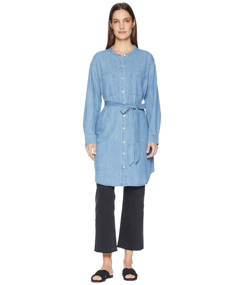 エイリーンフィッシャー レディース ワンピース トップス Organic Cotton Drapey Denim Mandarin Collar Shirtdress with Tie Blue Star