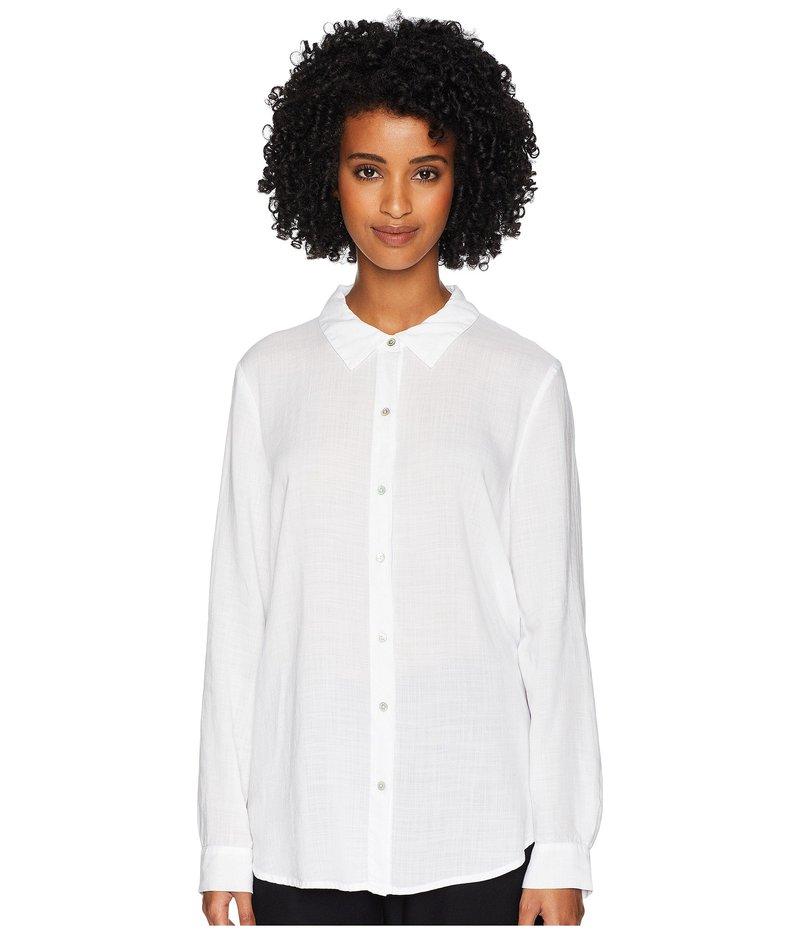 エイリーンフィッシャー レディース シャツ トップス Drapey Tencel Crosshatch Classic Collar Shirt White