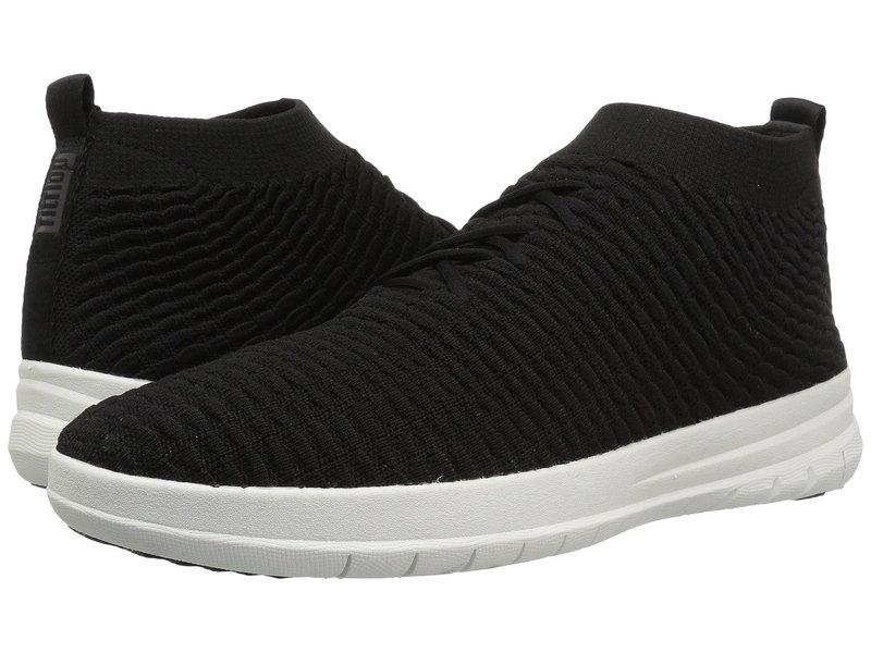フィットフロップ メンズ スニーカー シューズ Uberknit Slip-On High Top Sneaker in Waffle Knit Black