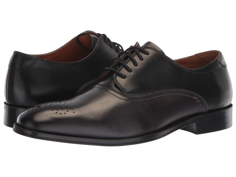 フローシャイム メンズ オックスフォード シューズ Belfast Perf Toe Oxford Grey/Black Smooth