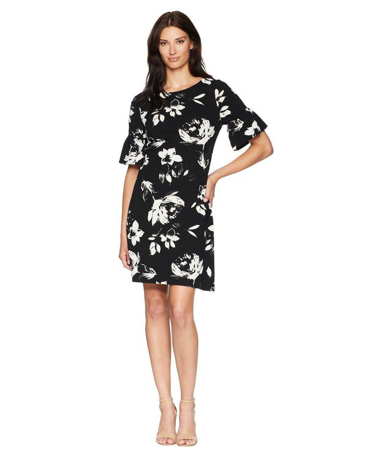 イヴァンカ・トランプ レディース ワンピース トップス Flared Short Sleeve Floral Shift Dress Black/Ivory