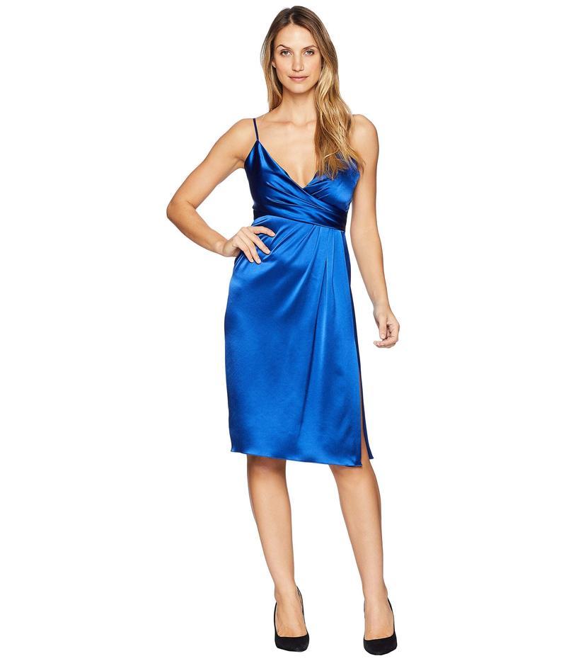 ジルスチュアート レディース ワンピース トップス Satin Wrap Cocktail Dress Royal Blue