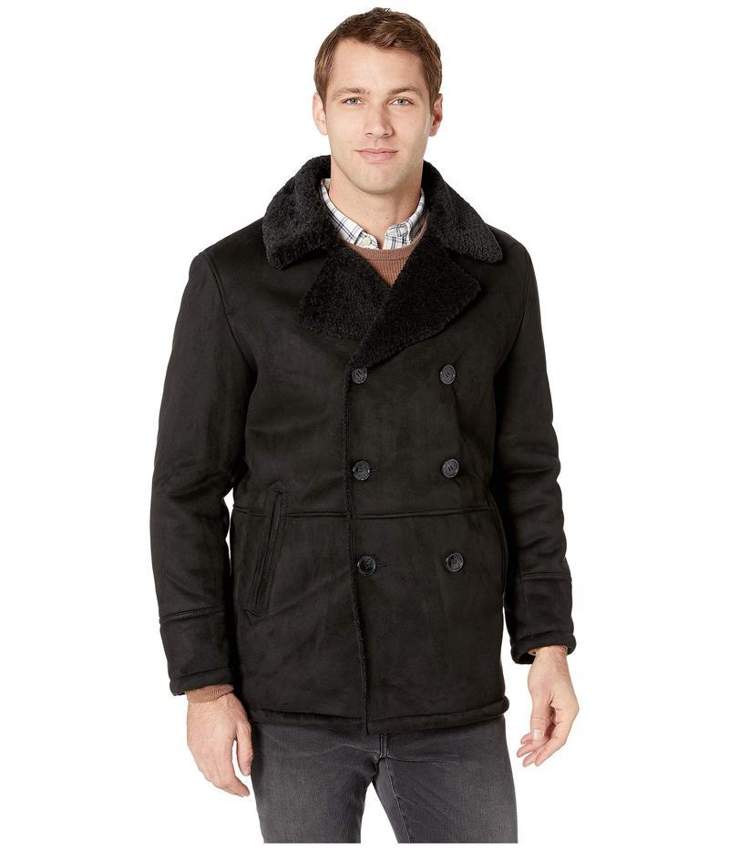 ケネスコール メンズ コート アウター Double Breasted Faux Shearling Jacket w/ Notch Black
