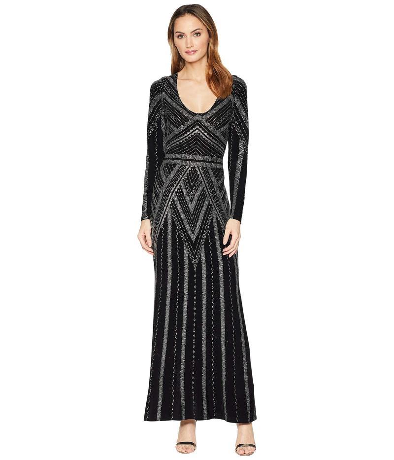 マリナ レディース ワンピース トップス Long Sleeve V-Neck Glitter Knit Gown Black/Silver