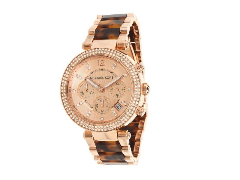 マイケルコース レディース 腕時計 アクセサリー Parker Watch MK5538 Rose Gold & Tortoise