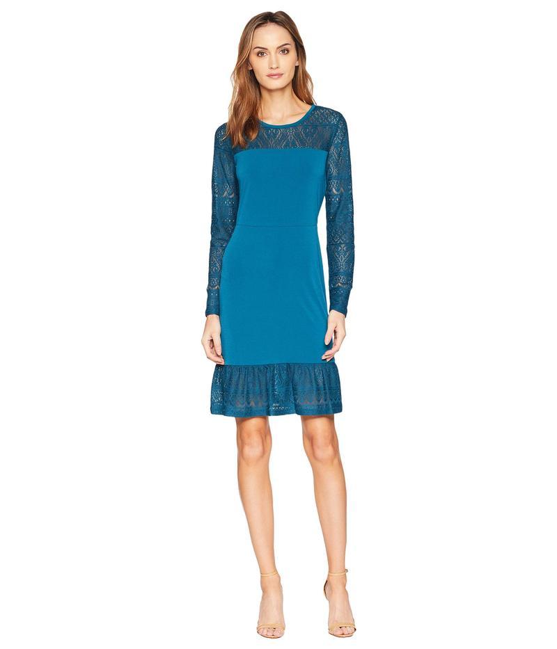 マイケルコース レディース ワンピース トップス Fabric Mix Long Sleeve Dress Luxe Teal