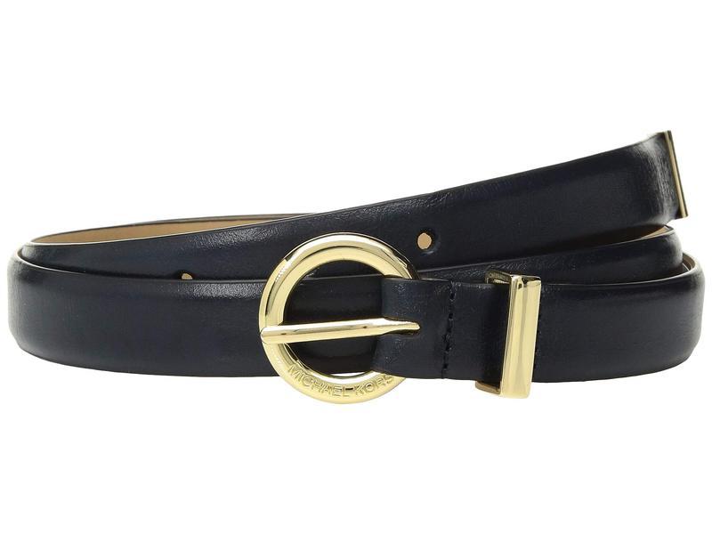 マイケルコース レディース ベルト アクセサリー 20 mm (3/4???) Skinny Vogue Belt Navy/Gold Crinkle Patent