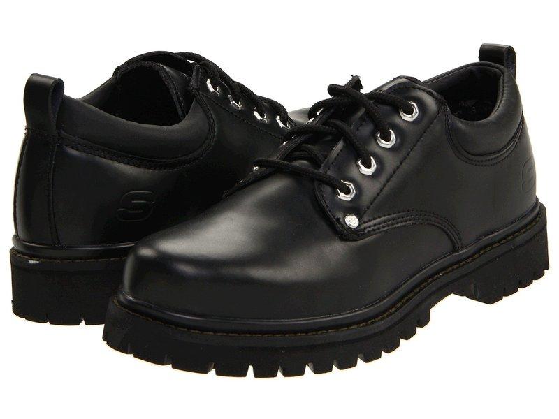 スケッチャーズ メンズ オックスフォード シューズ Alley Cats Black Oily Leather